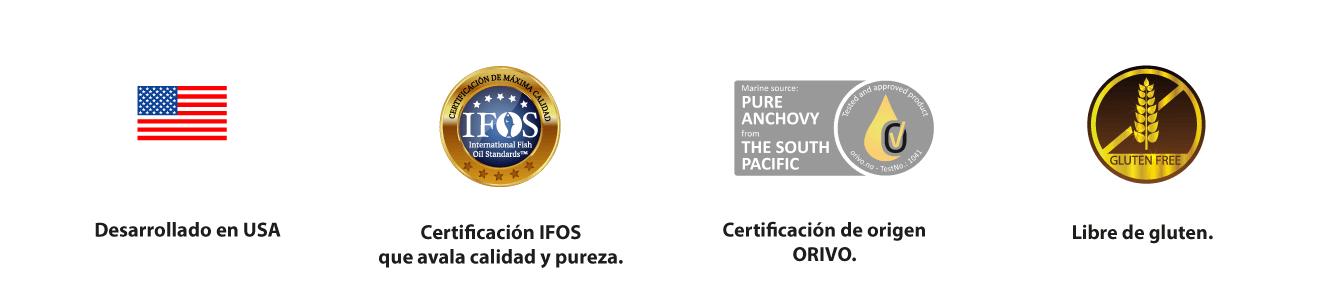 Desarrollado en USA, Certificación IFOS y ORIVO, Libre de Gluten