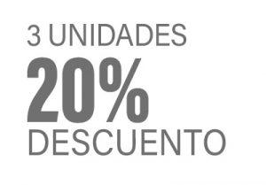 3 unidades 20% descuento