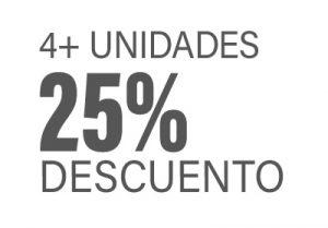 4+ unidades 25% descuento