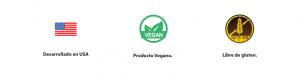 Desarrollado en Estados Unidos. Producto Vegano. Libre de Gluten.